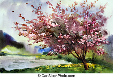 eredet, fa, vízfestmény, flowers., virágzó, festmény, táj