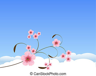 eredet, háttér, virágos