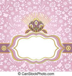 eredet, pink-gold, húsvét, keret
