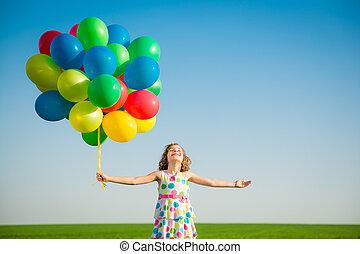 eredet, szabadban, mező, gyermekek játék, boldog