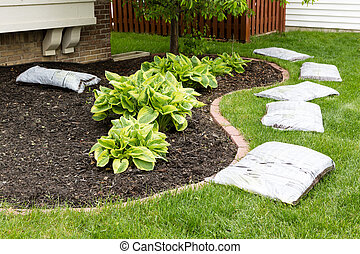 eredet, talajt takar, kert, előkészítő