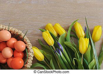 eredet, tulipánok, és, easter ikra, fekvő, képben látható, erdő