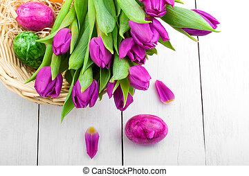 eredet, tulipánok, és, easter ikra, képben látható, fából való, háttér