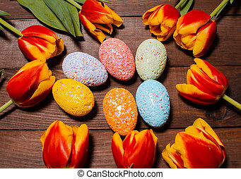 eredet, tulipánok, és, húsvét, eggs., hagyományos, keresztény, húsvét, holi