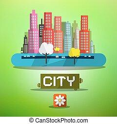 eredet, város, vektor