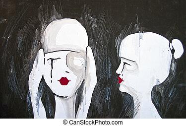 eredeti, festmény, közül, két, nő