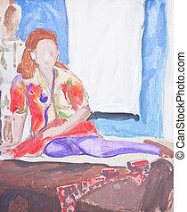 eredeti, festmény, közül, woman ül, ágy