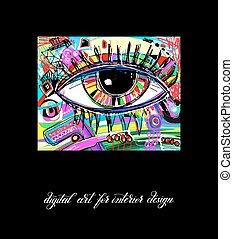 eredeti, kortárs, digitális, szem, festmény, artwork, fordíts, printable