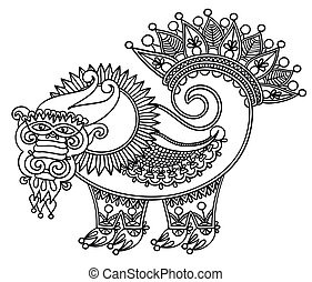 eredeti, sárkány, skicc, egyedülálló, kéz, rajzol