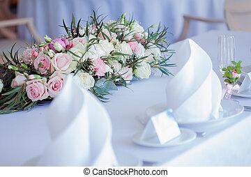 ereignis, pfingstrosen, satz, wedding, anordnung, groß, rosen, party, blumen-, empfang., tisch, oder