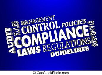 erfüllung, regeln, regelungen, gesetze, 3d, wörter, collage, revision, buchhaltung