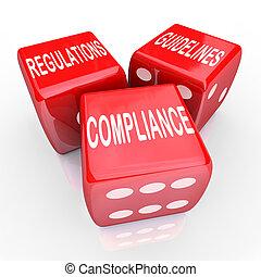 erfüllung, regelungen, richtlinien, drei, spielwürfel,...