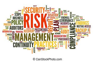 erfüllung, wort, risiko, wolke, etikett