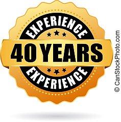 erfahrung, jahre, ikone, vektor, 40