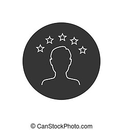 erfahrung, vektor, befriedigung, stern, ikone, 5, oder, apps, bewertung, kritik, säumen art, websites, kunde