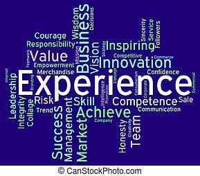 erfarenhet, ord, indikerar, veta, hur, och, kompetens