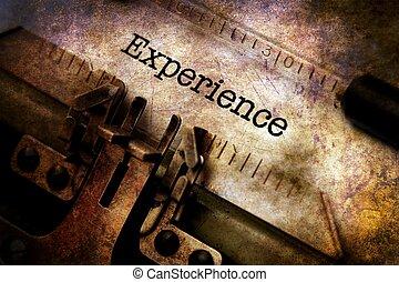 erfarenhet, text, på, årgång, skrivmaskin