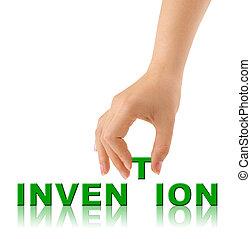 erfindung, wort, hand