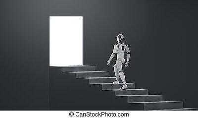 erfolg, 3d, spaziergang, humanoid, übertragung, auf, stufe, roboter