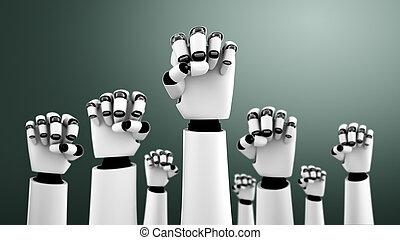 erfolg, ai, humanoid, auf, hände, roboter, feiern, erreicht, gebrauchend