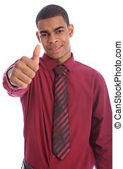 erfolg, für, glücklich, junger, afrikanischer amerikanischer mann