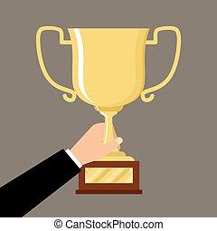 erfolg, gold schale, gewinner, hand holding, mann