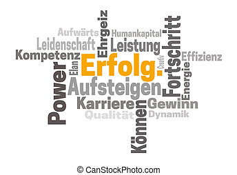 Erfolg Karriere Ehrgeiz (in german success career ambition) word cloud concept
