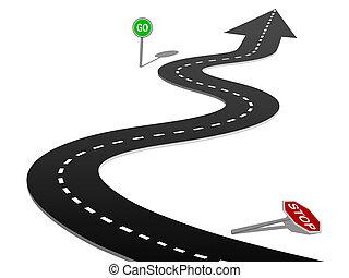 erfolg, landstraße, kurve, halt, gehen, zeichen, fortschritt