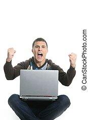 erfolg, laptop, schueler, ausdruck, gebärde, glücklich