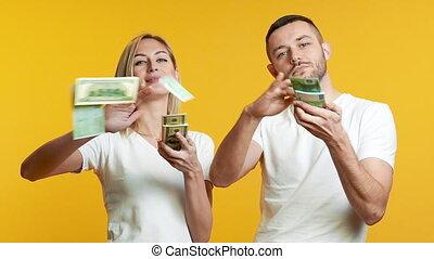 erfolg, paar, geld., heraus, geld, begriff, junger, ...