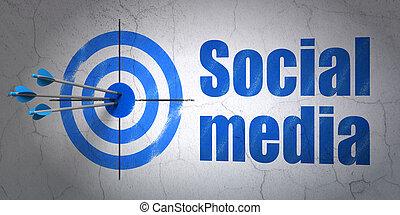 erfolg, sozial, medien, concept:, pfeile, schlagen, der, zentrieren, von, ziel, blaues, sozial, medien, auf, wand, hintergrund, 3d, render