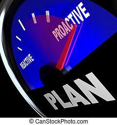 erfolg, strategie, reaktiv, vs, messgerät, plan, proactive