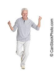 erfolgreich, älterer mann, in, ungezwungene kleidung,...