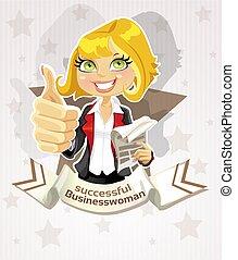 erfolgreich, geschäftsfrau, plakat