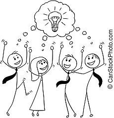 erfolgreich, geschaeftswelt, brainstorming, karikatur, feiern, mannschaft