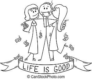 erfolgreich, ihm, oder, umarmen, zeichen, zwei, karikatur, reich, mädels, mann, leben, geschäftsmann, guten