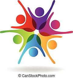 erfolgreich, logo, gemeinschaftsarbeit