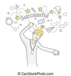 erfolgreich, mann, tanzen