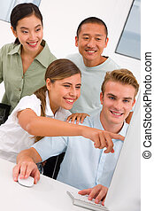 erfolgreich, schauen, edv, businesspeople, buero