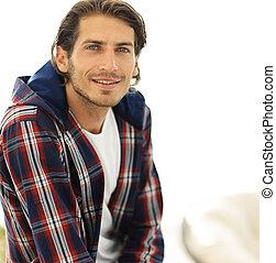 erfolgreich, shirt., kerl, kariert, porträt