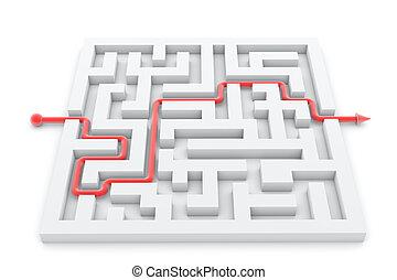 erfolgreich, vollendet, abbildung, spur, pfeil, labyrinth
