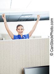 erfolgreich, weibliche , kundendienstvertreter, in, buero