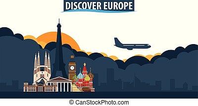 erforschen, europe., reise tourismus, banner., wolkenhimmel, und, sonne, mit, motorflugzeug, auf, der, hintergrund.