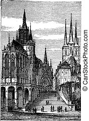 Erfurt Cathedral in Thuringia, Germany, vintage engraving