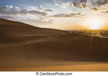 Erg Chebbi dunes at sunrise, Morocco