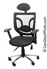 Black ergonomic chair isolated with clipping paths over white background