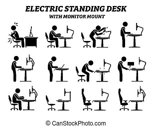 Ergonomic electric standing desk table with monitor mount.