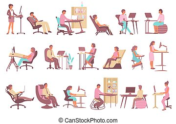 Employees working on computers at office with contemporary ergonomic desks chairs and seats flat set isolated vector illustration