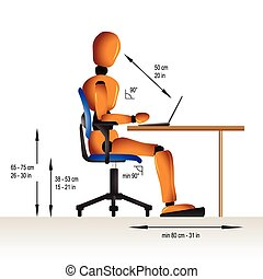 Instruction on how to sit correctly when working in order to avoid diverse health problems.