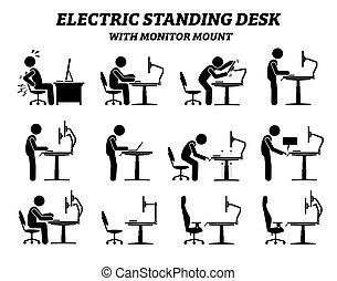 ergonomico, monitor, elettrico, standing, monte., scrivania, tavola